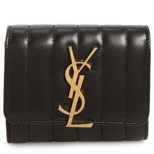 SAINT LAURENT Vicky Lambskin Leather Trifold Walle